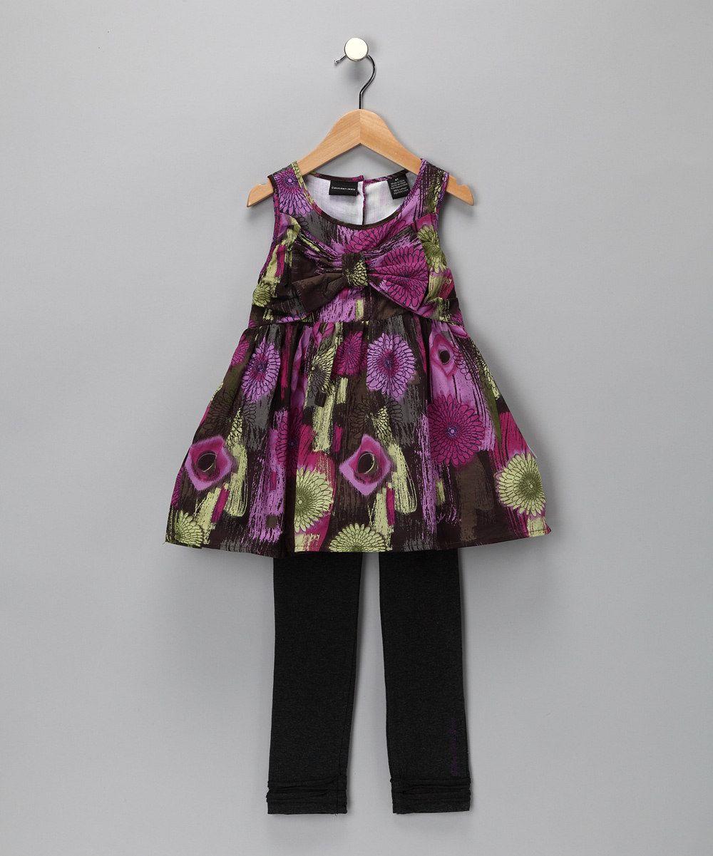 Violet Floral Tunic & Leggings - Toddler & Girls