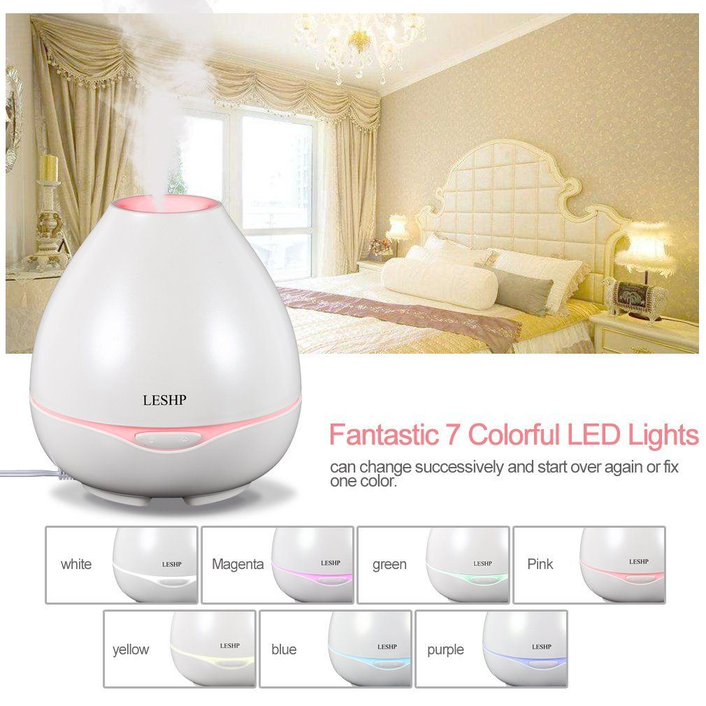 Office LESHP 300ml Electric Ultrasonic Humidifier Cool Mist Humidifier Air Humidifier Auto Shut-off and Adjustable Mist mode for Home Baby Room Yoga Blue Spa,Bedroom