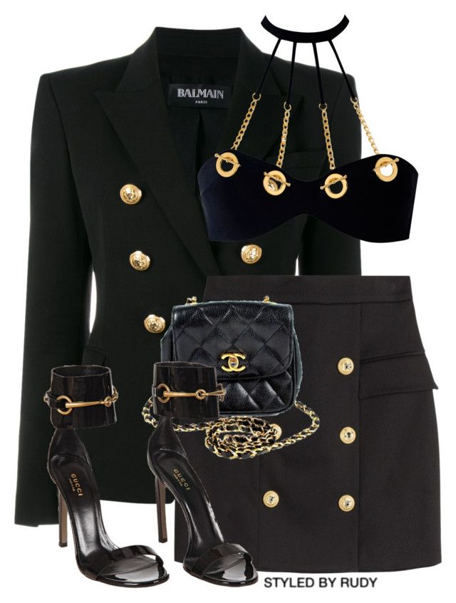 """""""Untitled #744"""" by styledbyrudy ❤ liked on Polyvore featuring Balmain, Agent Provocateur, Chanel and Gucci"""