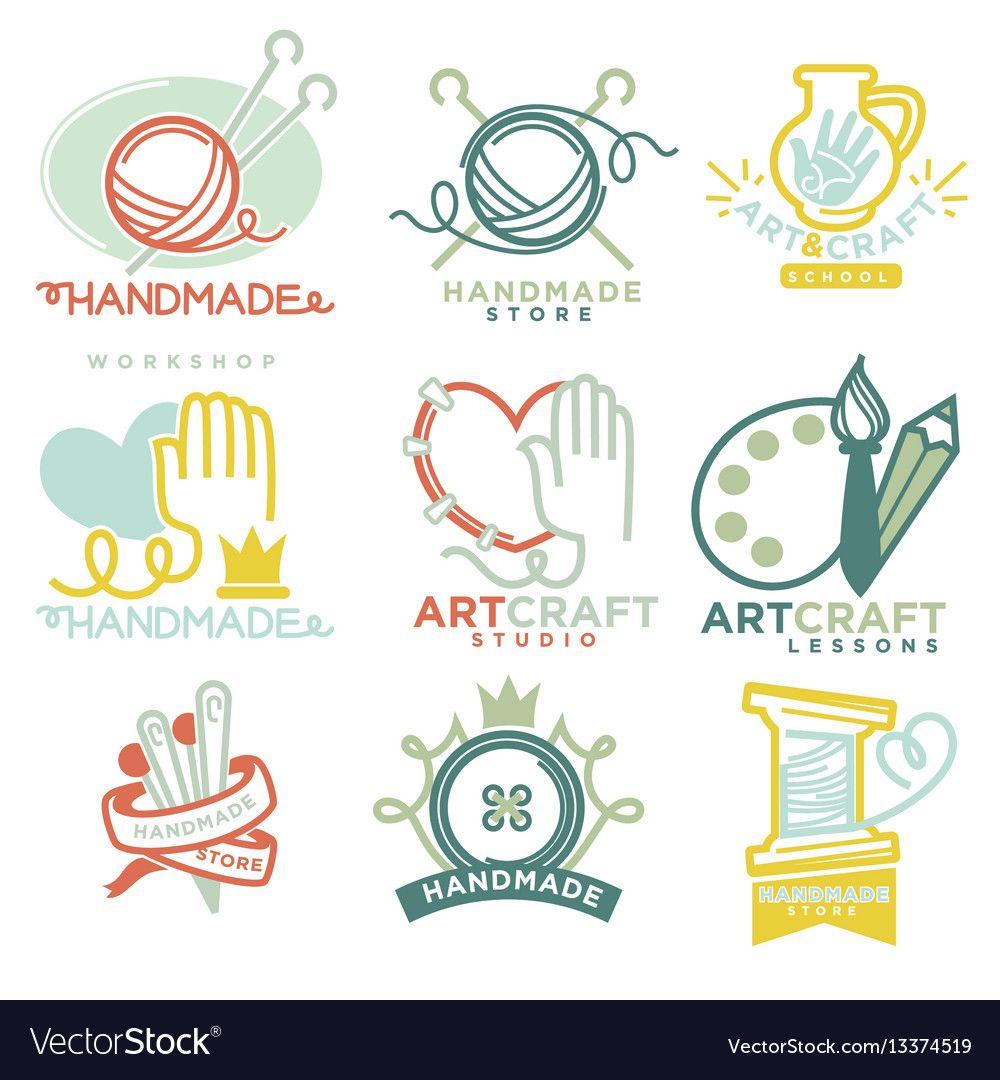 Art And Handmade Craft Logo Templates Flat Set Vector Image On