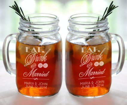 Perfect Spring And Summer Personalized Wedding Favors L 16 Oz Mason Jar Mug