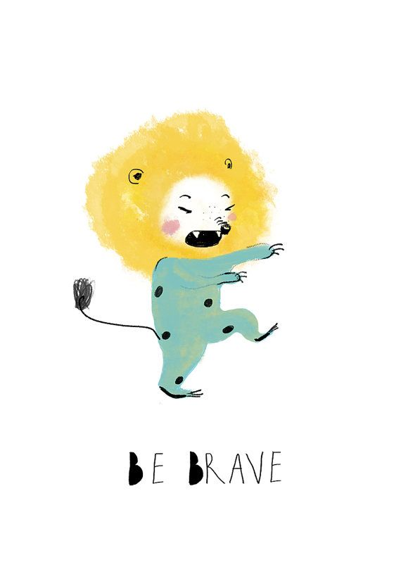 Little lion print quote Be BRAVEBaby Boy Nursery A4 Print by holli