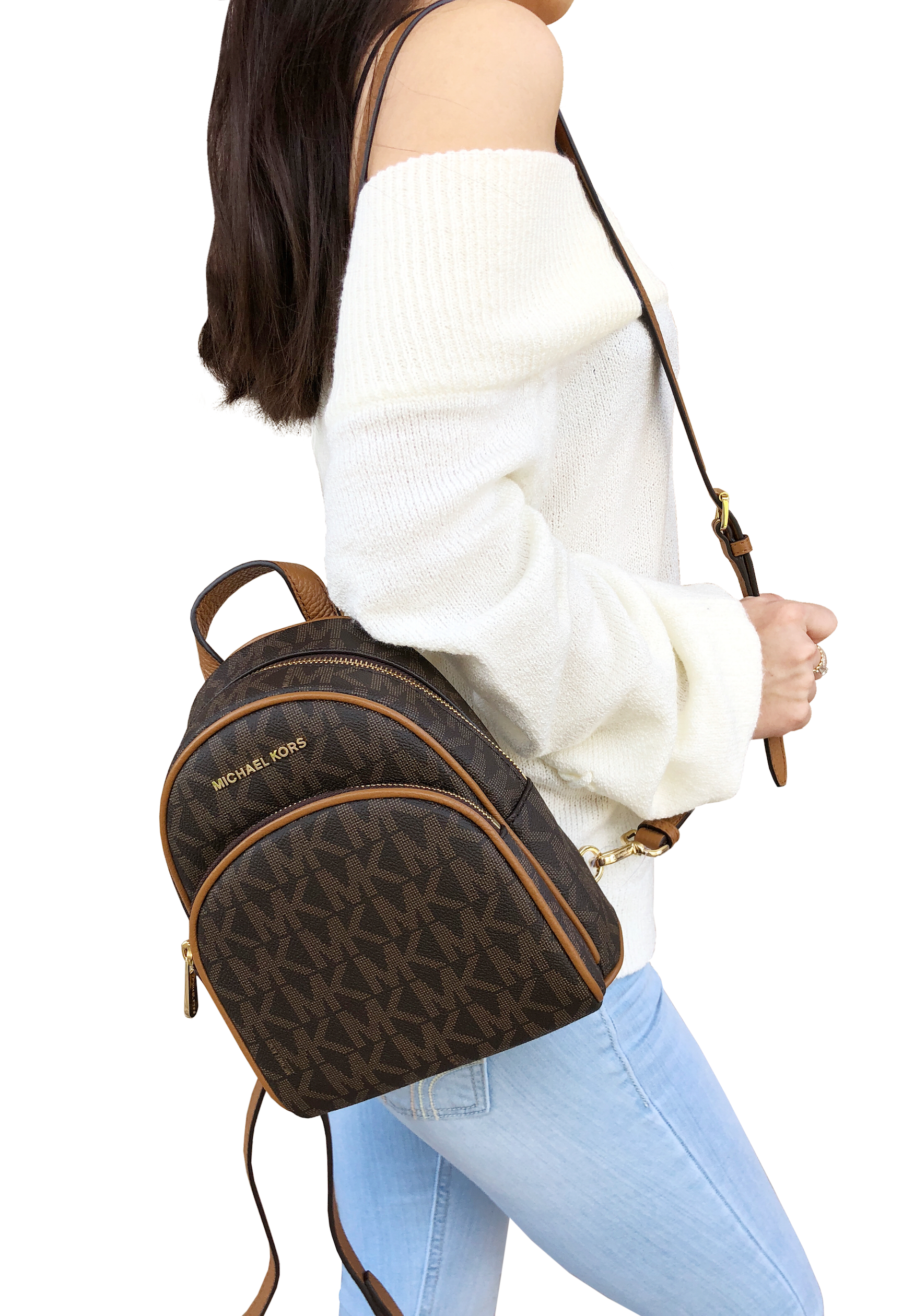 c85fbe8792d9 Michael Kors Abbey Mini Backpack Crossbody Brown MK Signature Acorn Extra  Small