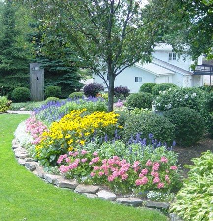 Beautiful garden love the rock border garden ideas for Rock flower garden ideas