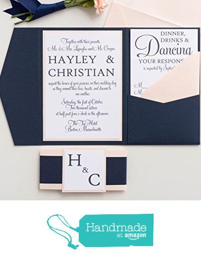 Custom Wedding Invitations Set, Blush Pink And Navy Wedding