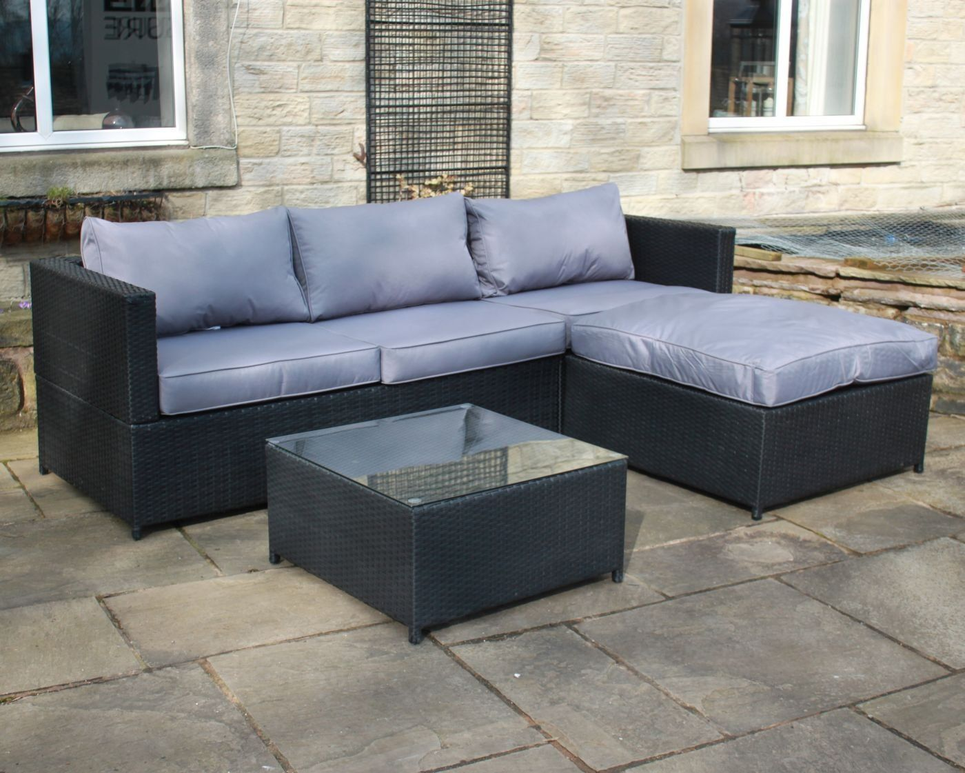 Garden Rattan Sofa Uk Black Rattan 4 Seat Corner Sofa Set Garden Patio Furniture 195