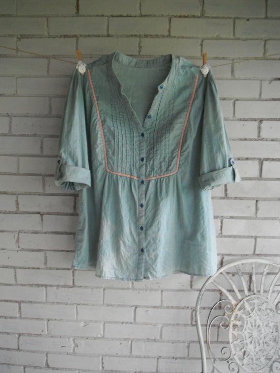 bohemian blouse faded denim look blouse hippie by ShabbyRoad