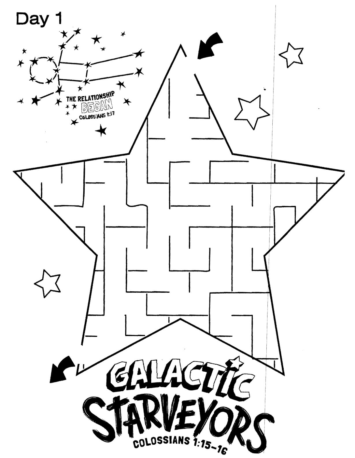 Galactic Starveyors Coloring Sheet VBS 2017 Day 1 Easy Maze