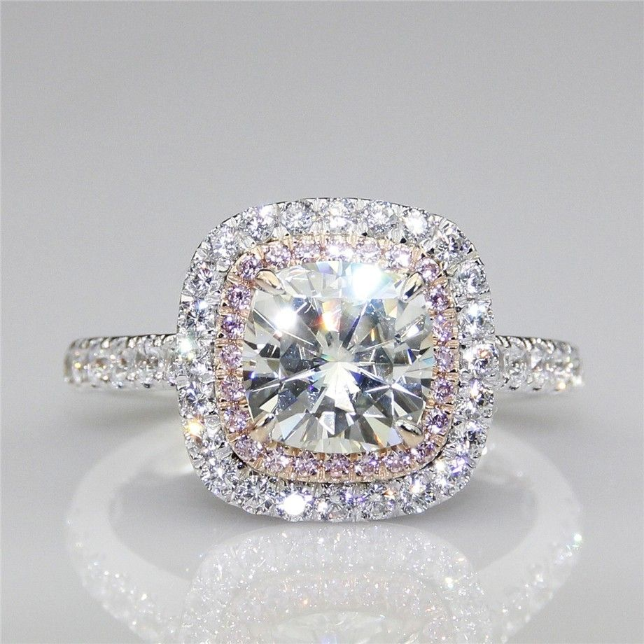3CT Sterling Silver NSCD Pink Simulated Diamond Ring Pear Cut Engagement Jewelry for Women