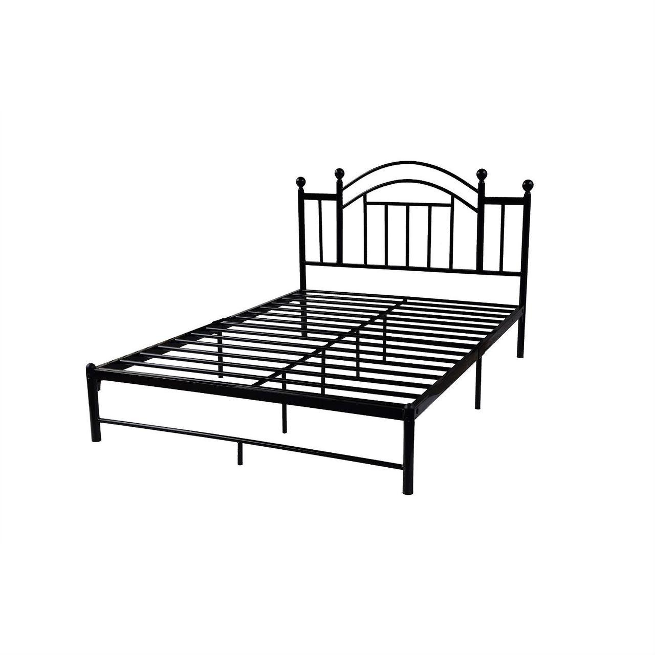 Full Black Metal Platform Bed Frame With Arched Headboard Metal