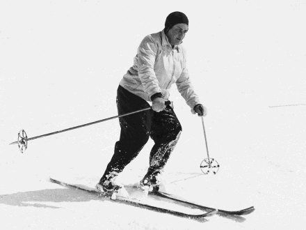 The fabulous and formidable Erna Low, pioneer of the modern ski holiday.  Her biography - aptly titled 'Aiming High' written by Mark Frary - makes great reading