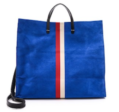 Deep blue square tote bag with red and white stripes