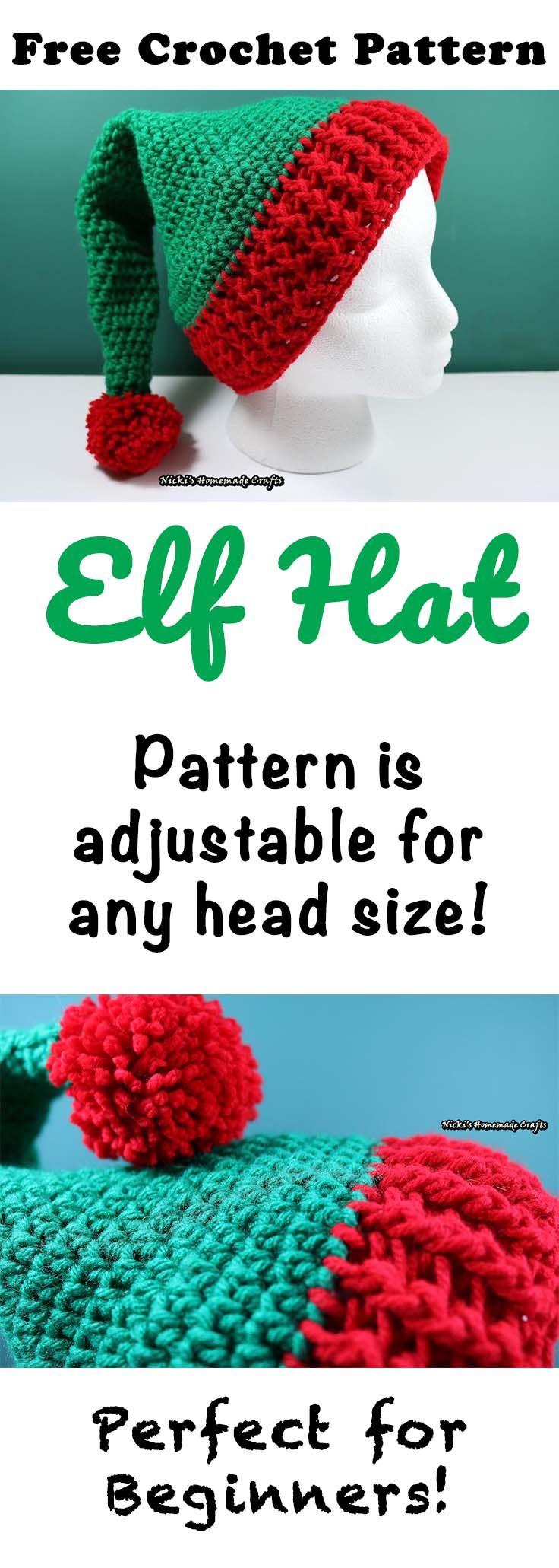 Elf Hat with Pom-Pom - Free Crochet Pattern | Häkelmützen, Hüte und ...