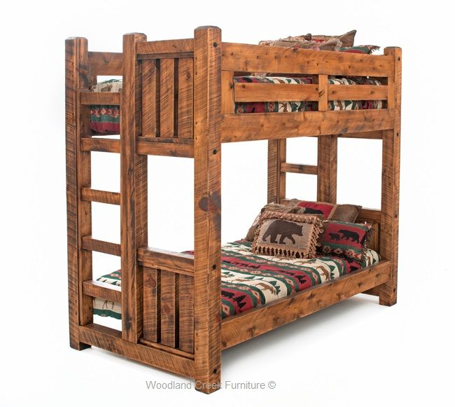 Solid Wood Bunk Bed Barn Wood Bunk Bed Rustic Bunk Bed Lodge