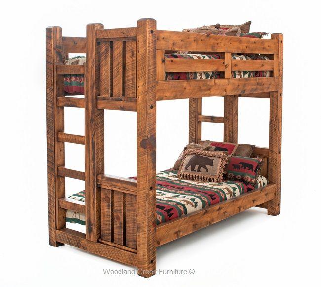 Solid Wood Bunk Bed Barn Wood Bunk Bed Rustic Bunk Bed Lodge