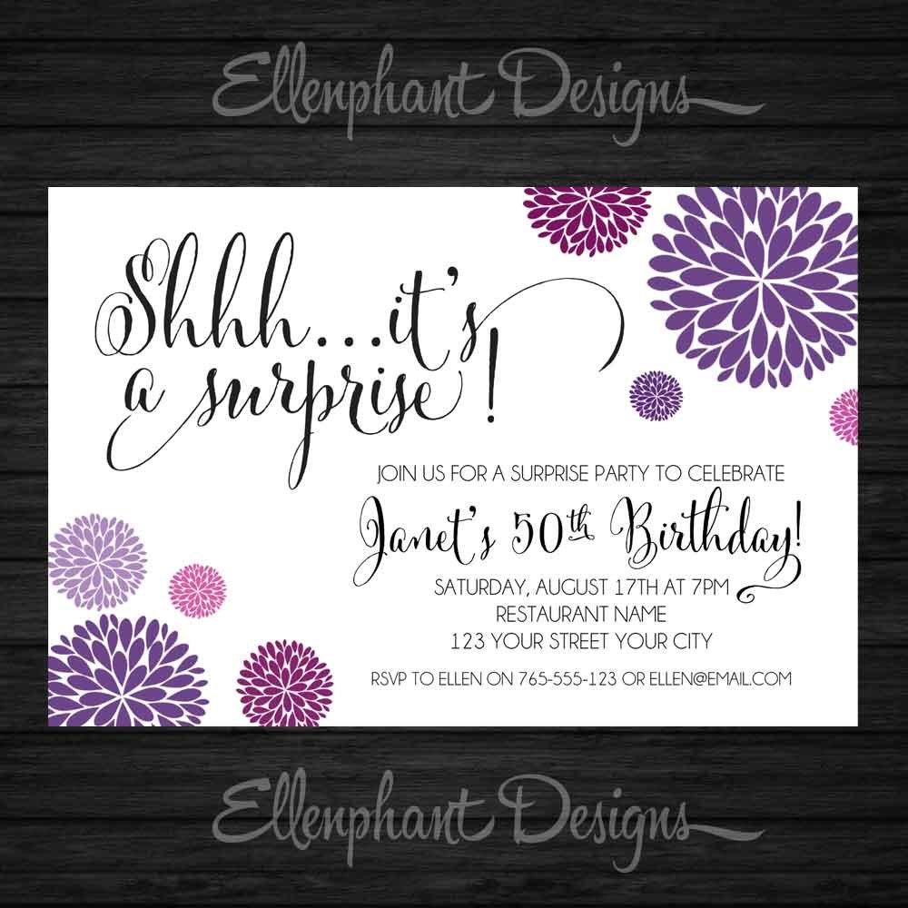 Surprise Birthday Invitation, purple & magenta, handwritten font ...