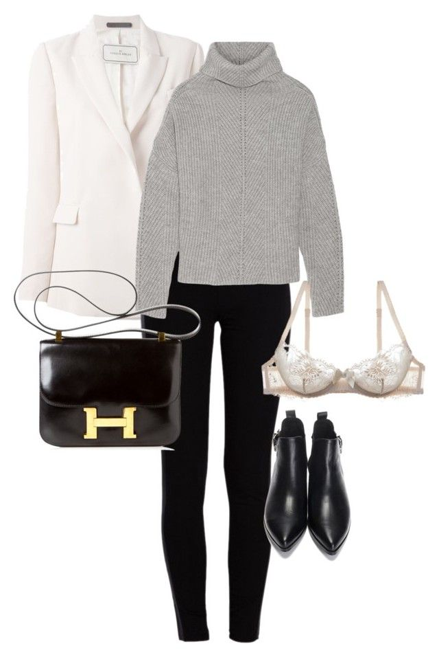 """""""untitled #141"""" by clarisewilliams ❤ liked on Polyvore featuring By Malene Birger, Pieces, Maje, Hermès and L'Agent By Agent Provocateur"""