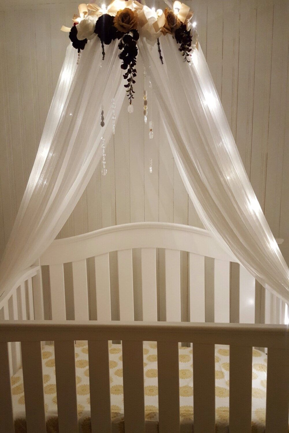 Ivory Ch&agne u0026 Plum Canopy- Nursery Crib Canopy- Bed Canopy- Crib Canopy- Flower Canopy- Lighted Canopy- Baby girl : canopy for baby cot - memphite.com
