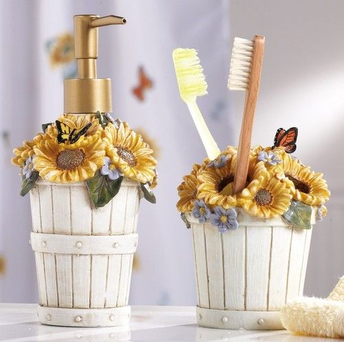 2 PC Country Sunflower Basket Bathroom Accessory Set 3D Butterfly Floral Decor