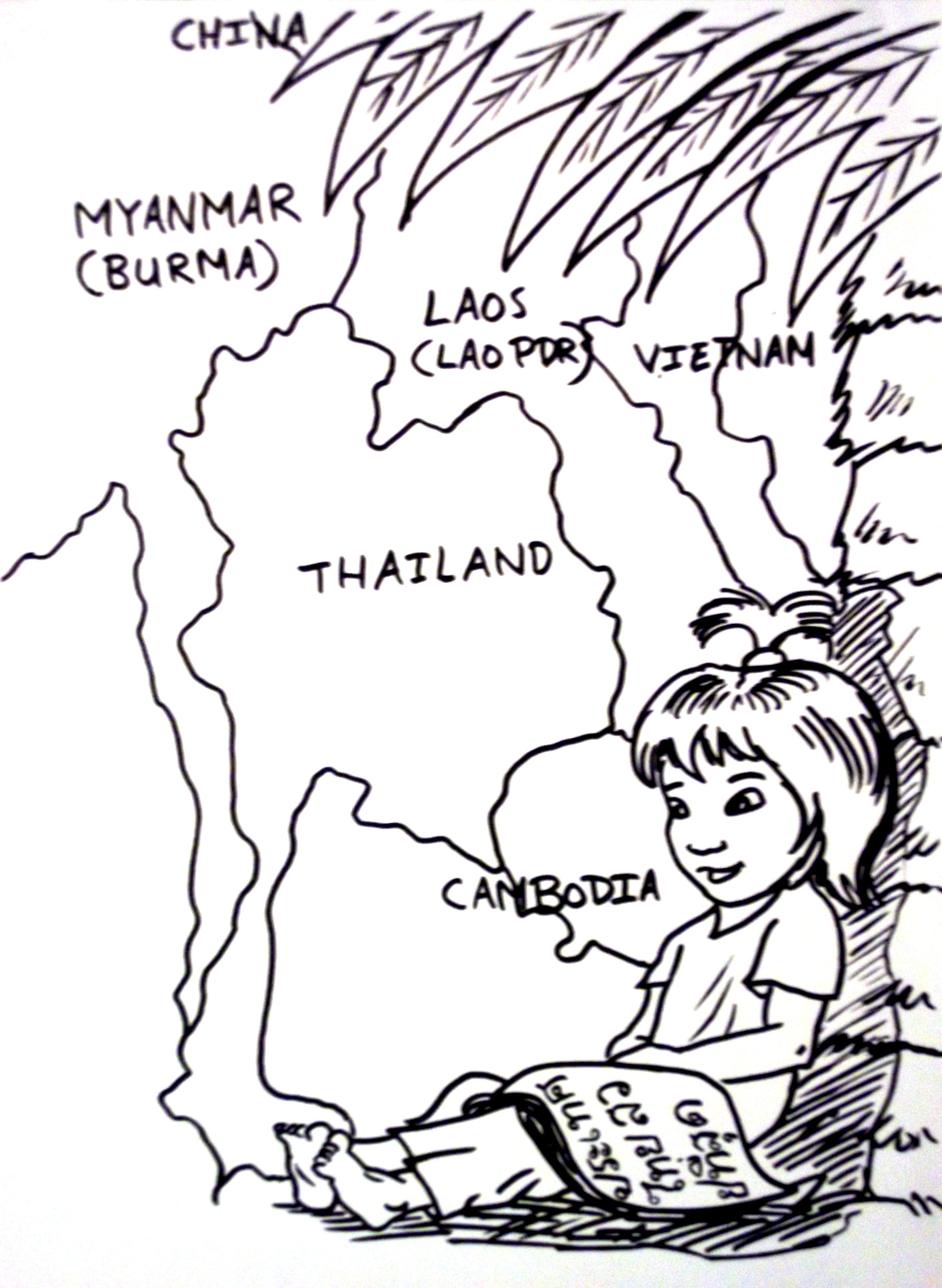Thai Girl Coloring Page Colouring Page Thai Child Kid