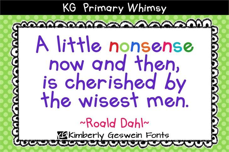 KG Primary Whimsy font by Kimberly Geswein - FontSpace