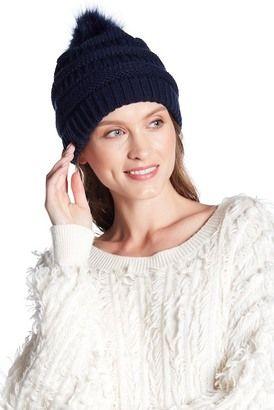 64baa8ca216 C.C CHEVEUX Faux Fur Pompom Knit Beanie  hat  womens