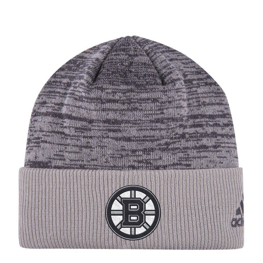 0c3c56dd2 Men's Boston Bruins adidas Gray Travel & Training Cuffed Knit Hat ...