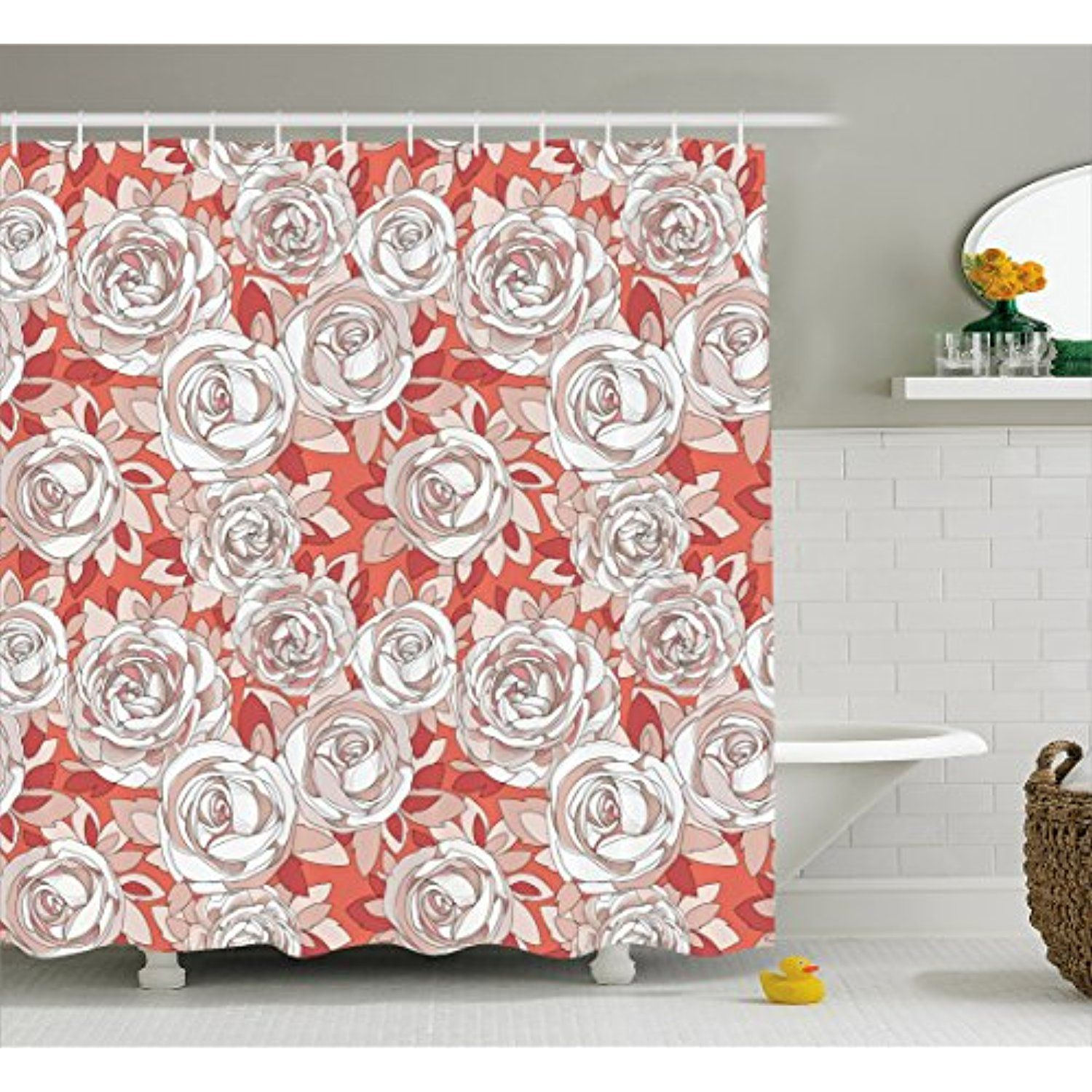 Dusty Rose Shower Curtain by Lunarable, Ornate Delicate Rosebuds ...