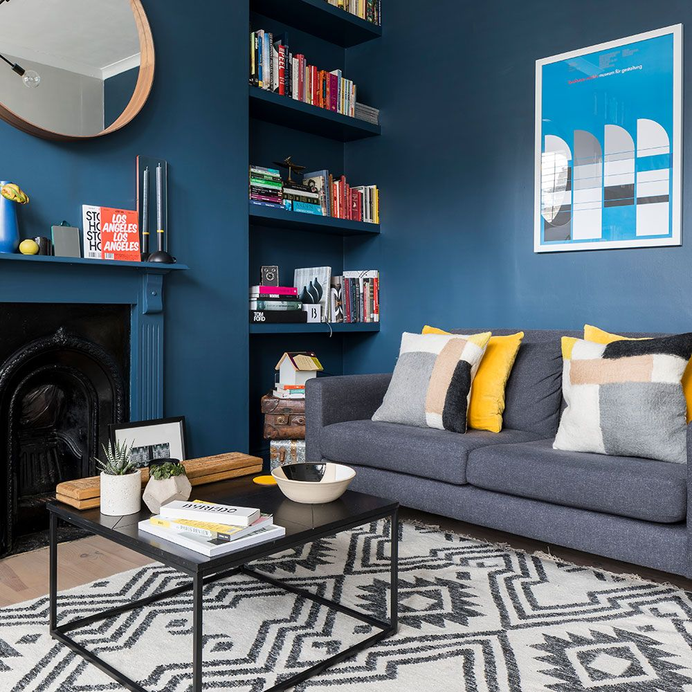 Living room makeover featuring Farrow & Ball Stiffkey Blue images