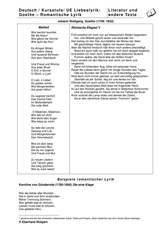 Liebesgedichte Goethes Und Der Romantik Gunderode Eichendorff Materialien Zur Interpretation Unterrichtsmaterial Im Fach Deutsch In 2020 Liebesgedicht Liebesgedichte Goethe Liebeslyrik