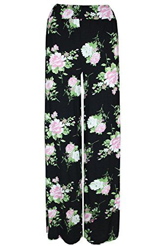 81e975c003eee Oops Outlet Women s Printed Flared Wide Leg Parallel Pants Palazzo Leggings  Plus Size (US 12 14) Black Cream Rose -- Read more details by clicking on  the ...