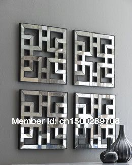 Silver Wall Decor Mirror, Wall Stick Mirror, Decorative Small Mirror In Set