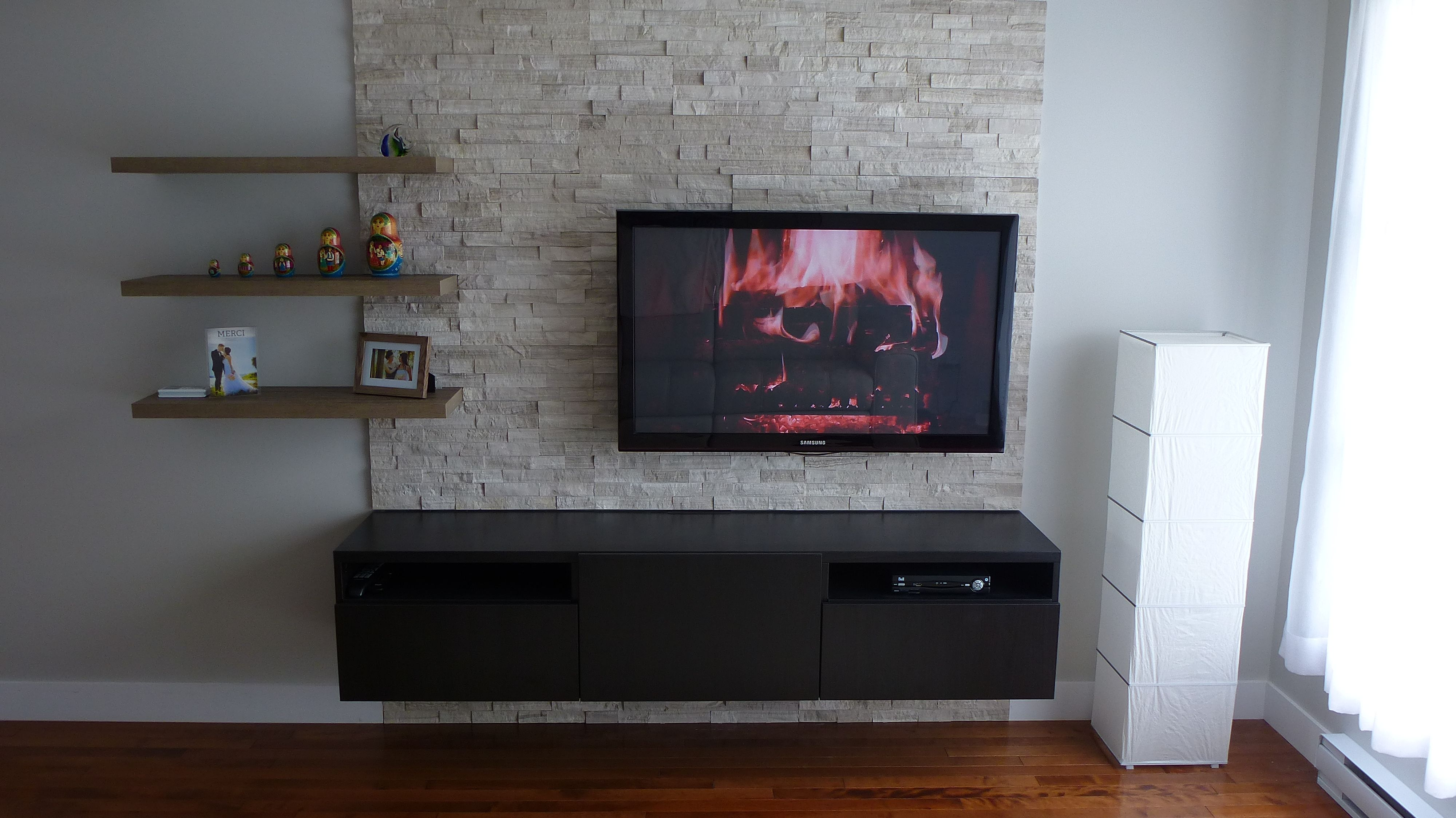 Tv Wall Stone Erthcoverings Ledgestone Silver Fox Panels With  # Meuble Paroi Tv