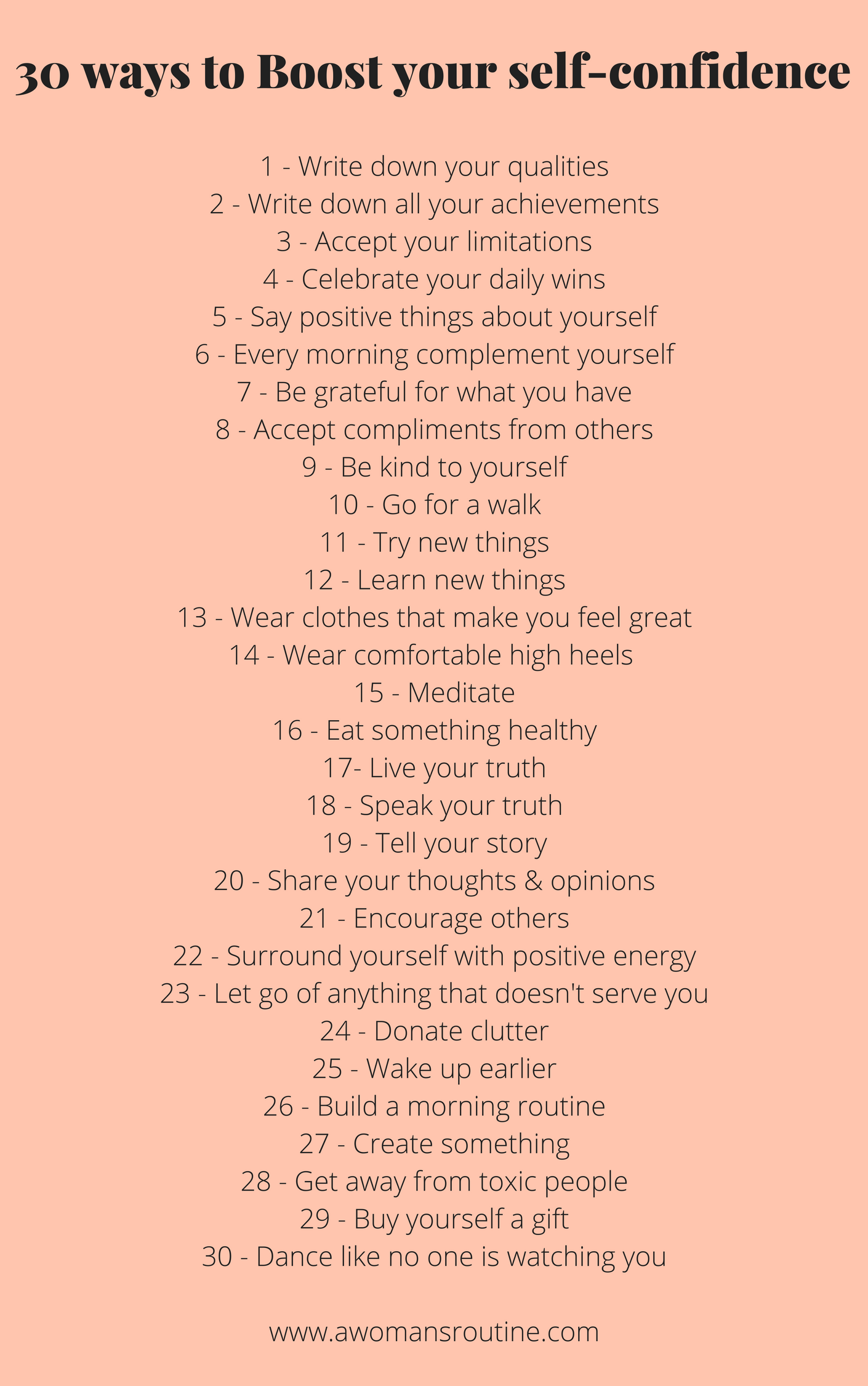 This Is A Worksheet With 30 Ways You Can Boost Your Self
