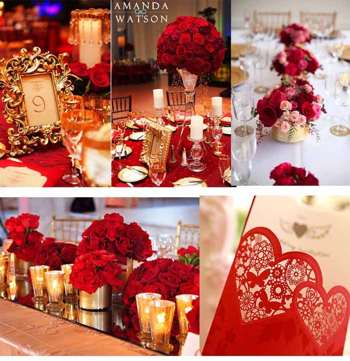 red and gold wedding party | themed wedding | Pinterest ...