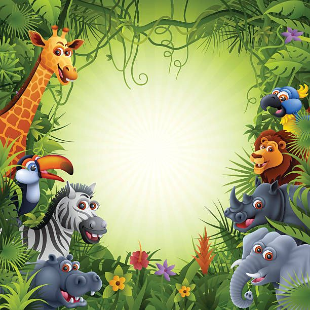 Image result for cartoon jungle background with animals in ...