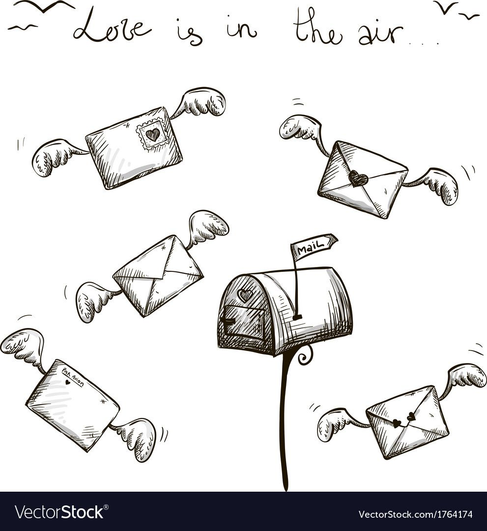 Winged Letters Mailbox St Valentine Post Vector Image Affiliate Mailbox St Winged Letters Ad Cute Doodles Drawings Valentines Post Valentine Vector