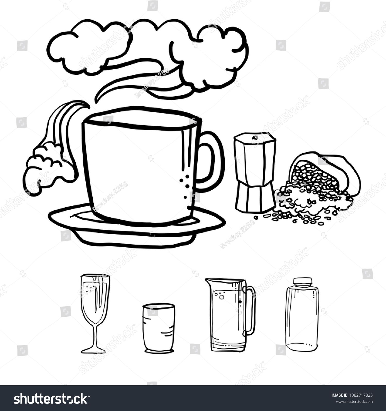 Coffee cup with kitchenware, drawing vector in doodle style