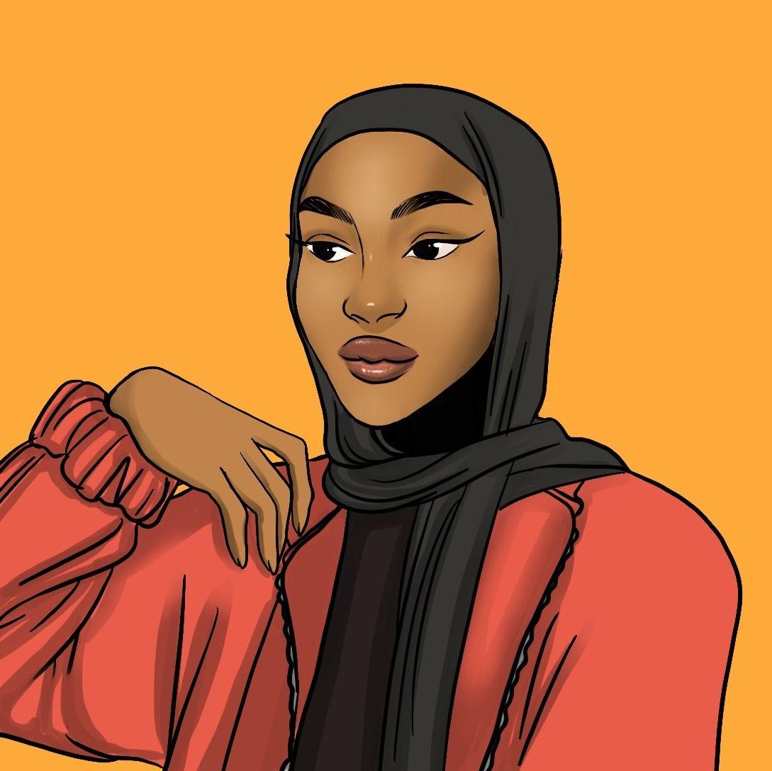 Aesthetic Iphone Hijab Cartoon Wallpaper Black Novocom Top
