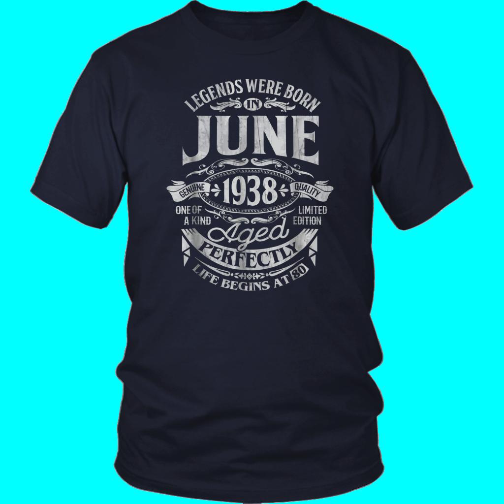 Legends Were Born In June 1938 80th Birthday Gif T Shirt Birthday Gif Shirts Tee Shirts