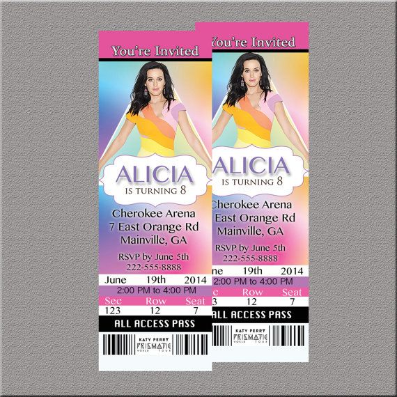 Katy Perry Prismatic World Tour Concert Ticket Invitation Party - concert ticket invitations