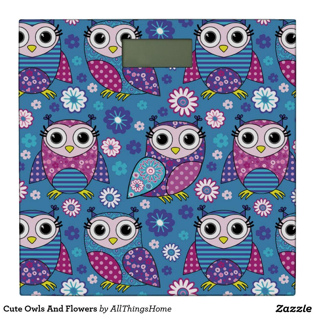 Cute owls and flowers bathroom scale bathroom scales