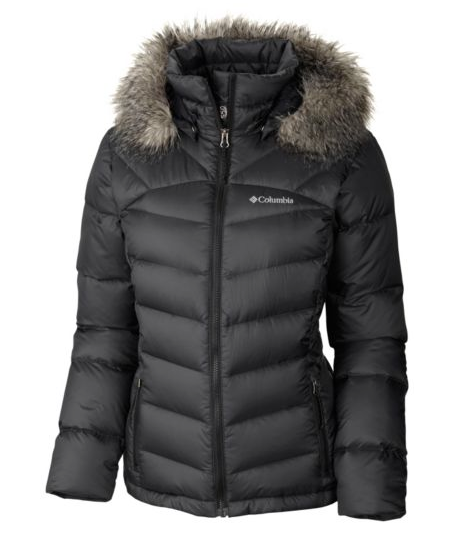 The Columbia Women's Glam-Her Down Jacket is a flattering, warm duck-down  puffy coat with a water-resistant shell and a removable faux-fur-trimmed  hood.