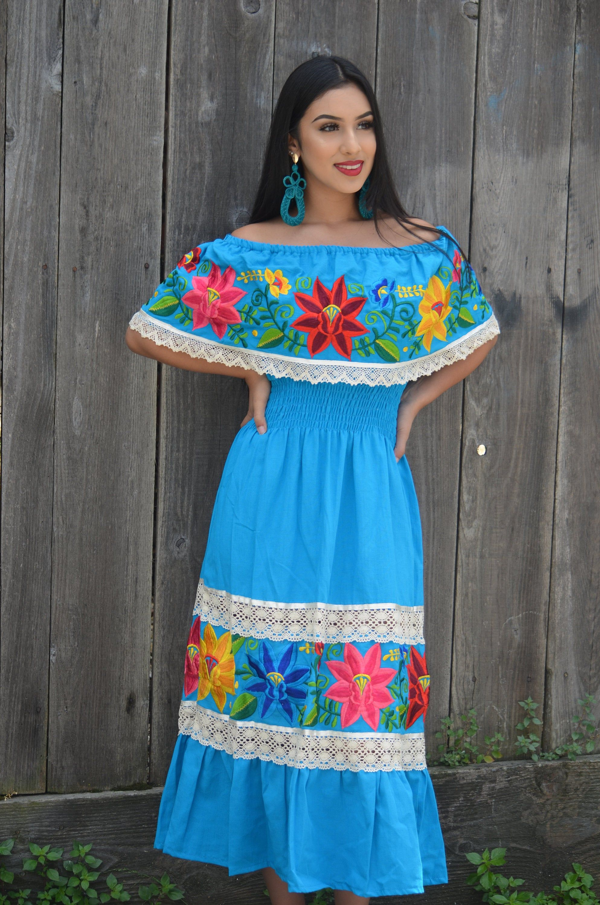 Mexican blue wedding dress multicolor embroidered off