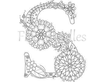 Malseite Zum Ausdrucken Buchstabe S Floral Handgezeichnetes