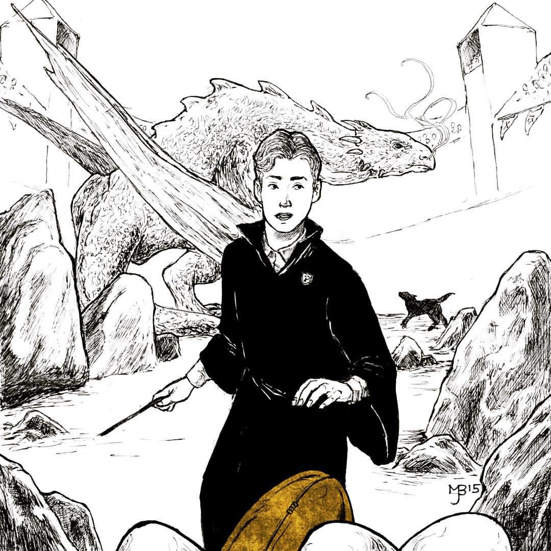 an illustration of Cedric with the golden egg, eyeing the dragon that is distracted by a dog behind him