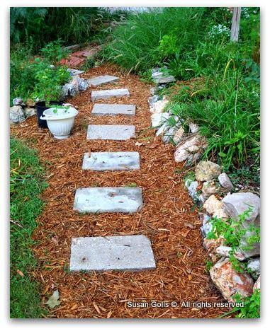 Yard Sale Find Creates An Inexpensive Garden Path Unique Gardens Landscape Steps Stepping Stone Paths