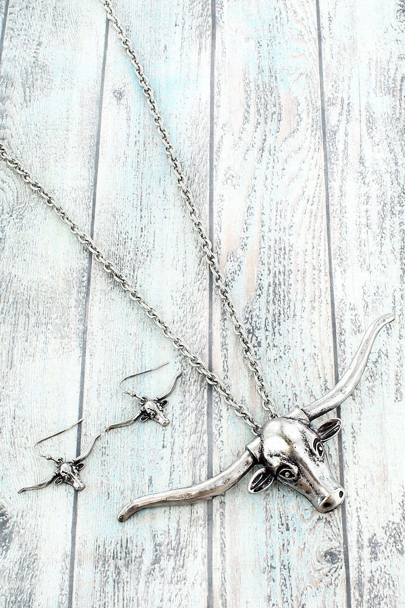 Burnished Silvertone Longhorn Necklace and Earring Set #SS0054-SB