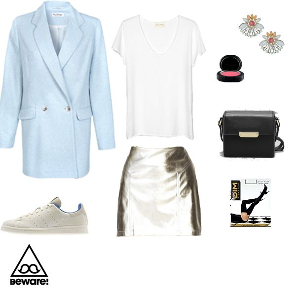 #Fashion Selection n°70 : American Vintage t-shirt, Forever 21 futuristic mini skirt, Miss Selfridge jacket, Adidas sneakers, Mac cosmetic, Miss Selfridge earring, And Other Stories purse, Dim tights : http://bewaremag.com/2014/03/02/selection-mode-70/