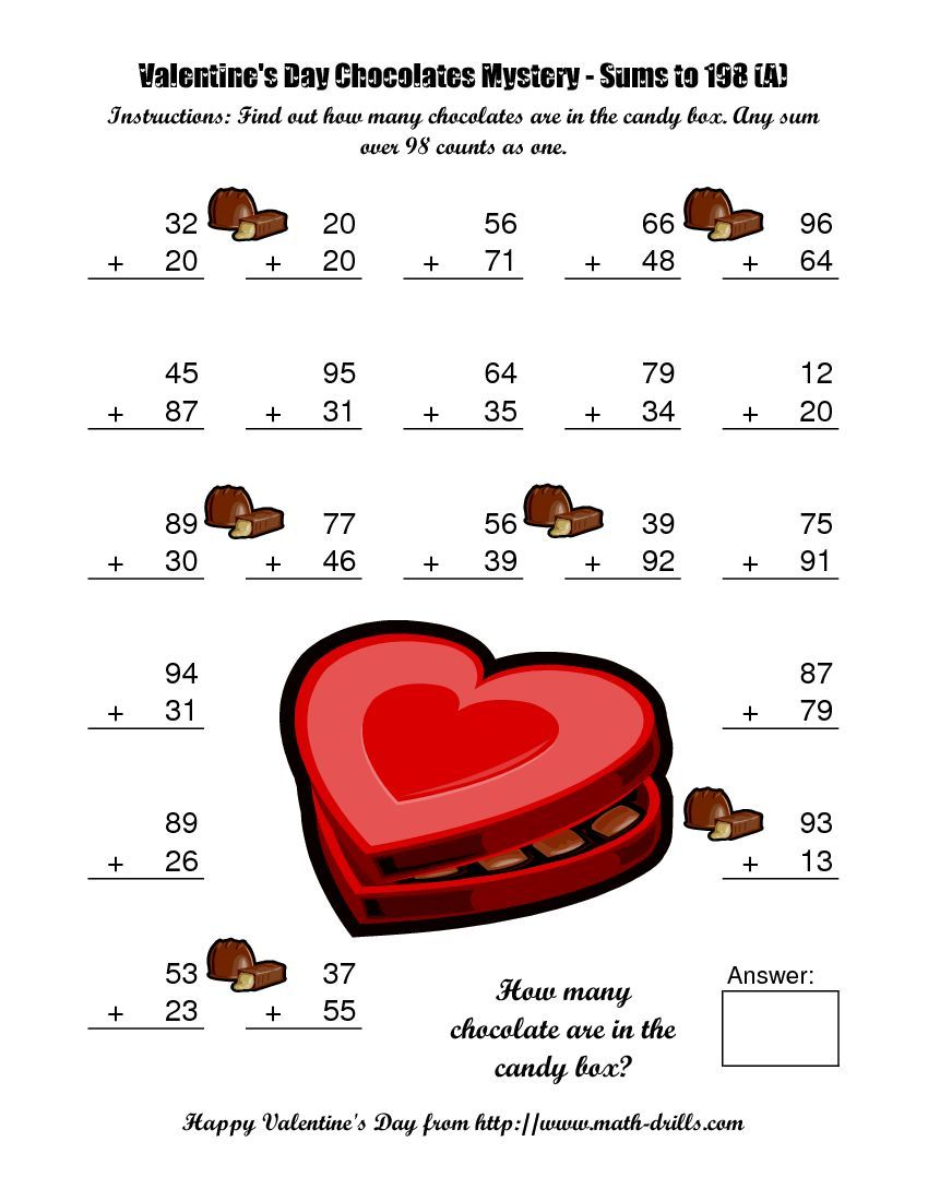 Chocolates Mystery Two-Digit Plus Two-Digit Addition (A)   Valentine math  worksheet [ 1100 x 850 Pixel ]